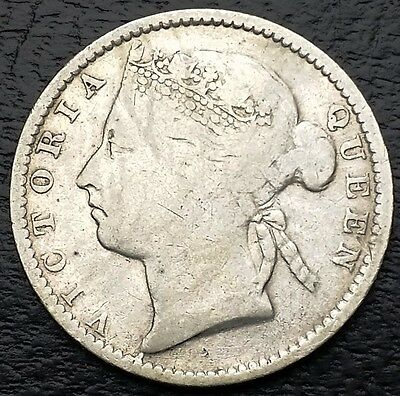STRAITS SETTLEMENTS: 1895 10 Cents 80% Silver Coin, KM #11 - Free Combined S/H