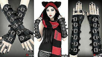 Restyle Gothic Arm Warmers Black Bucklers Punk Alternative Emo Goth Gloves