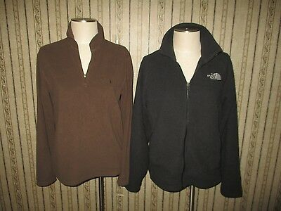 EUC lot of 2 men's THE NORTH FACE brown FLEECE JACKETS - size SMALL