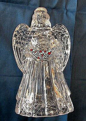 24% Lead Crystal Large Angel Holding Peace Sign # 754