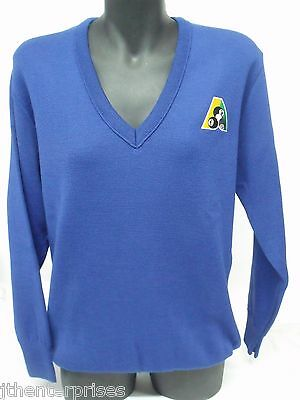 Lawn Bowls Jumper Pullover BA Logo V Neck Royal Men's Ladies Wool Blend XS - 2XL