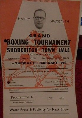 Boxing Programme - Shoreditch Town Hall - Tony Moore V Fred Powney 1969