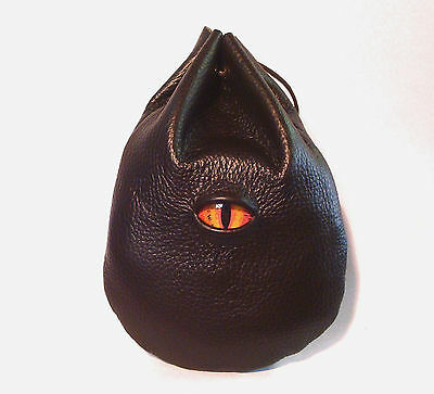 Dragon Eye Taller Brown Leather Dice Rune Coin  Belt Pouch Bag  Sca Larp