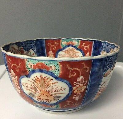 IMARI Early 19th Century Antique Japanese Porcelain Lotus Bowl Scalloped Edge