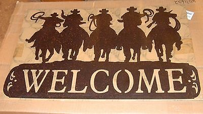 Extra Large Black Metal Cut-Out of 5 Cowboy Silhouette Wall Sign 24 x 15