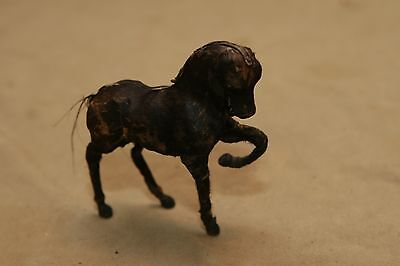 Antique Vintage Primitive Horse Figurine Glass Eyes Leather Wrapped Hand Sewn Be