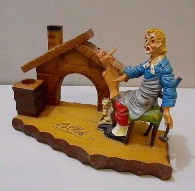 Vtg Italy Carving Fontanini Depose Pinocchio Collodi Desk Top Inkwell Pen Holder