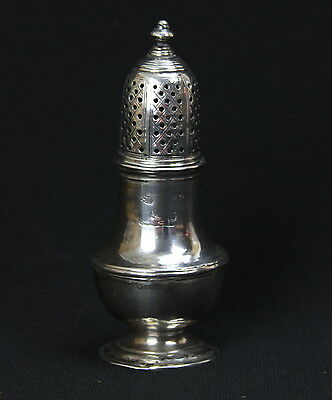 Antique 1792 Georgian Sterling Silver Caster Shaker Muffineer Sam Wheat Crest