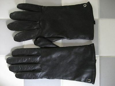 ETIENNE AIGNER Women's Black Leather Cashmere Lined Gloves, Size Large