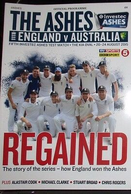 England V Australia Official The Oval 20Th/25Th August  2015 Coloured Programme