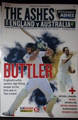 England V Australia Official Edgbaston 29July/2 August 2015 Coloured Programme