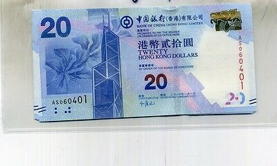 Hong Kong $20 2010 Lot Of 7 Consecutive Currency Note Cu 4624D