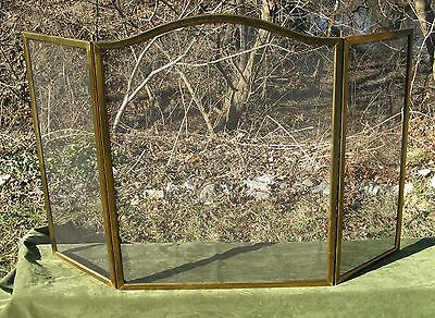 """Vintage Classic Brass Arched 3 Fold Steel Fire place Screen Handles 52""""w"""