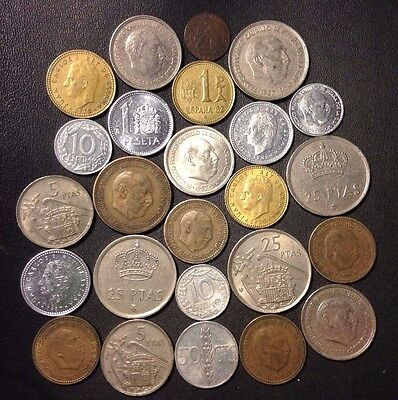 Old Spain Coin Lot - 1870-PreEuro - 25 Great Coins - Lot #F21