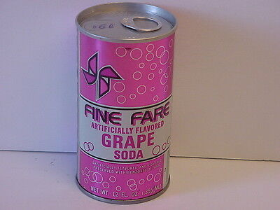Vintage Fine Fare Grape Soda Straight Steel Pull Tab Pop Can Bottom Opened