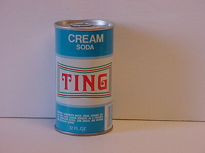 Vintage Ting Cream Soda Straight Steel Pull Tab Bottom Opened Pop Can