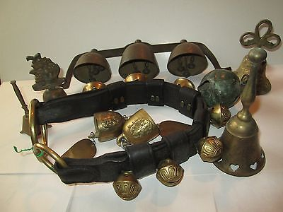Mixed Lot Of Vintage Brass Bells Sleigh Bell 3 Are Mounted