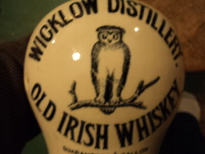 Old Whiskey Jug-Wicklow Distillery-Old Irish Whiskey-Owl-Rare-1890-1915