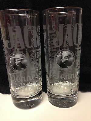 Jack Daniels Old No. 7 Tennessee Sour Mash Whiskey Drinking Glasses Set Of 2