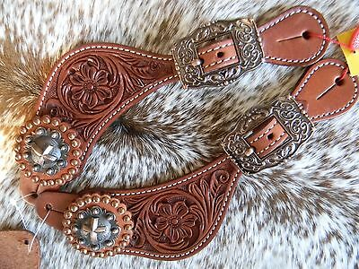 Tooled Leather Western Ladies Show Spur Straps Cross Conchos Copper Hardware