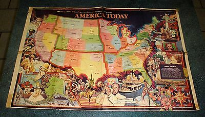 SCHOLASTICA Map of AMERICA TODAY Vintage Collectible Map From 1978 - RARE!