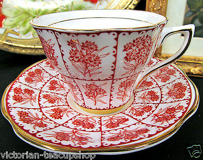 Rosina Tea Cup And Saucer Red & Gold Floral Pattern Chintz Teacup
