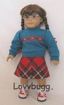 Plaid Skirt Set 1940s Vintage Style for American Girl Molly 18 inch Doll Clothes