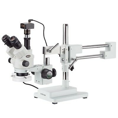7X-45X Simul-Focal Stereo Zoom Microscope on Boom Stand + Fluorescent Light + 1.