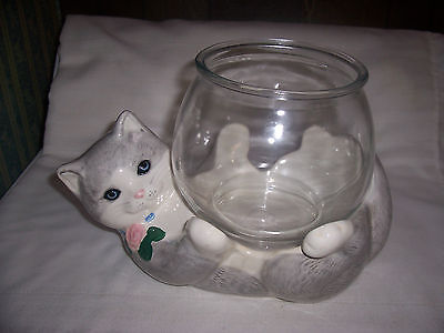 Vintage Ceramic Figure Cat With A Fish Bowl