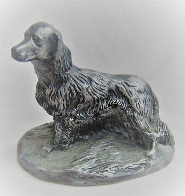 Pewter Dog Figurine - Setter - Retriever - Signed Ry - Vintage