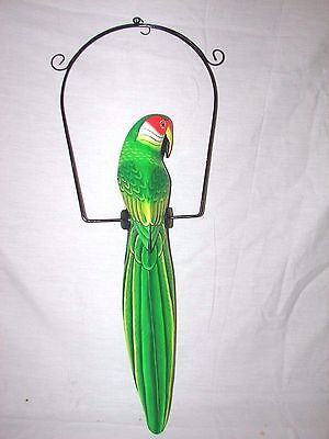 """25"""" Beautiful Red & Green Parrot On Swing Wood Hand Painted Carved Bird"""