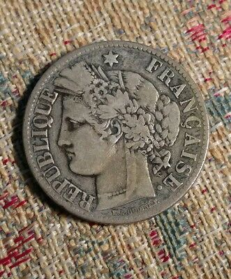 1871-A France 2 Francs Silver Coin - Nice Condition