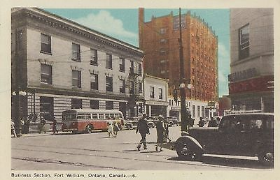 Royal Bank & C.S.L. Office FORT WILLIAM Ontario Canada 1940s PECO Postcard 6