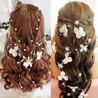 White flower crystals Pearls Beads Bridal Wedding Headpiece Hair Accessories Hot