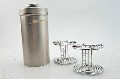 Vintage Stainless Steel Developing Tank Canister w/ 2 120mm Reels (V2846)
