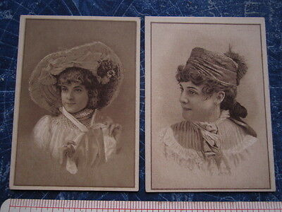 Lot 2 Jersey Coffee Dayton OH Ohio Advertising Trade Cards Girls Hats hj1003