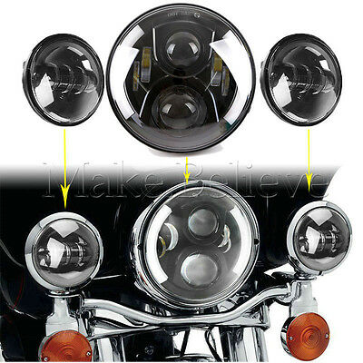 "Black 7"" Projector Daymaker LED Headlight Passing Light Kit For Harley Davidson"
