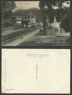 Ceylon Old Real Photo Postcard TEMPLE of HOLY TOOTH Kandy Street Scene Dagoba 27