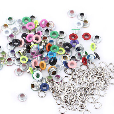 100Pc 5mm Metal Eyelets w/ Washer DIY Buttonhole Leather Craft Scrapbooking Card