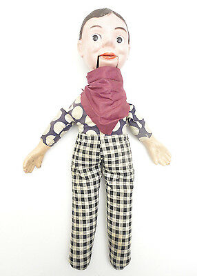 "Vintage 17"" Ventriloquist Boy Composition Doll Straw Filled String Actuated Jaw"