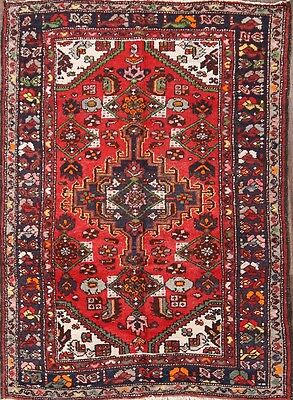 Great Deal Geometric Hand Knotted Red 4x6 Hamadan Persian Oriental Area Rug Wool