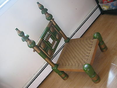 vintage hindu chair wood india green painted modernist looks hand made rare? old