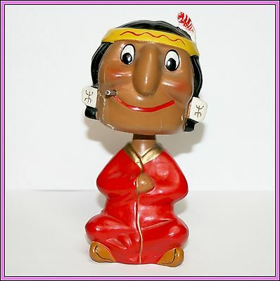 Vintage Sitting Smoking American Indian Nodder Bobble Head Bobblehead Old Japan