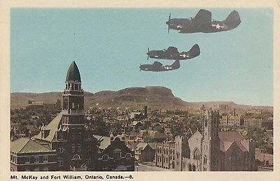 US Air Force Fighter Planes over FORT WILLIAM Ontario Canada 1940s PECO Postcard