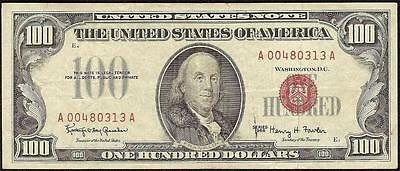 1966 $100 DOLLAR BILL UNITED STATES LEGAL TENDER RED SEAL NOTE CURRENCY Fr 1550