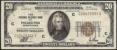 1929 $20 Dollar Bill Frbn Brown Seal Note National Crisp Currency Money F 1870-C
