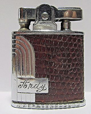 1950's Ronson Princess Lighter, Red Lizard, With Shield, Made In USA, Working.