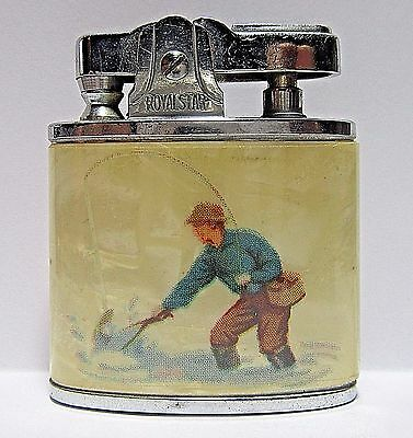 1950's Royal Star Lighter, Fisherman, Rainbow Trout, Made In Japan, Good Cond.