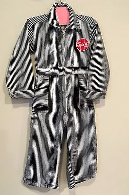 Vtg Antique Denim Work Wear Child's Coveralls Striped Santa Fe Railroad Patch