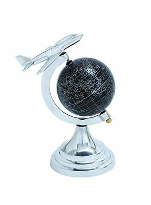 Benzara 28351 Metal Globe with White Mapping on Black Background NEW